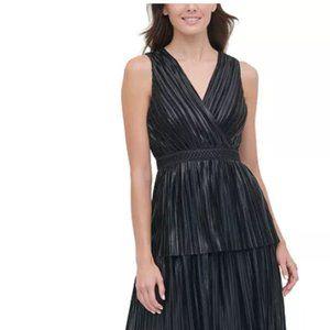 NWT black pleated tiered midi dress, metallic